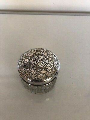 Vintage Solid Silver Lidded Cut Glass Jar With A Star On The Bottom (Birm 1902)