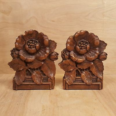 Vintage Pair of SYROCO Wood BOOKENDS ~ Sculptural FLOWERS Floral