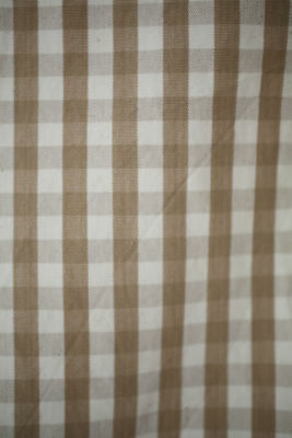 Vintage French VICHY CHECK beige mutted brown fabric panel 1950's