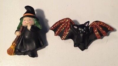 Lot of 2 vintage LEHMAN HALLOWEEN brooch/ label pin Fun World Witch and Bat