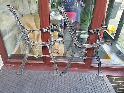 Pair of cast iron garden bench ends