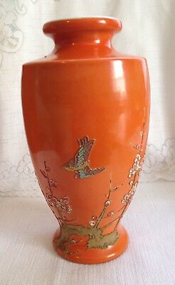 "Antique Moriage Pottery Vase Hand Painted Japan Orange Body Flowers Bird 9 3/4""T"
