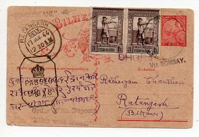 1944 India Censored Cover, Portugal Offices, Hindustani, High Value