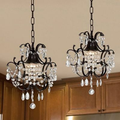 Wrought Iron and Crystal Mini-Chandelier 2-In-1 Set Hanging Ceiling Fixture
