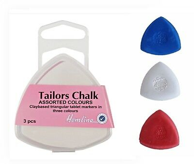 Hemline Tailors Chalk 3 Pack Assorted Colours Triangle Dress makers Chalk