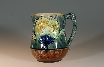 Majolica Aesthetic Movement Pitcher with Japanese Cranes & Fans, England c. 1880