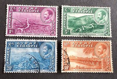 Ethiopia 1947 - Emperor Haile Selassies - 4 old used stamps