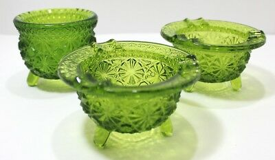 Vintage Green Glass Footed Assorted Pieces Ashtrays And Footed Bowl