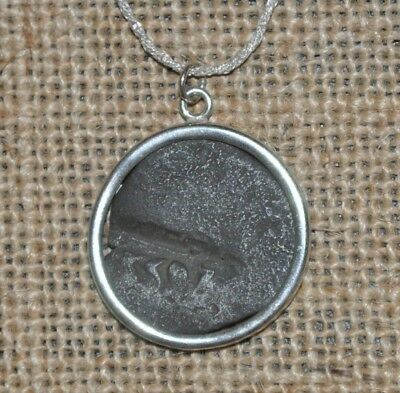 Authentic Spanish Philip II Colonial Pirate Shipwreck Coin 925 Silver Necklace