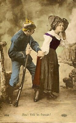 World War One  French Patriotic Card - German Solider assualting French Girl