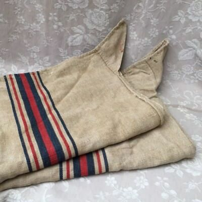 Antique FRENCH Timeworn Red/Navy Stripe HEMP LINEN FEED SACKS GRAIN BAGS 1800's
