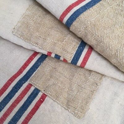 RARE Vtg Antique RED/NAVY FRENCH HEMP LINEN FEED SACK Country GRAIN BAG Pieced