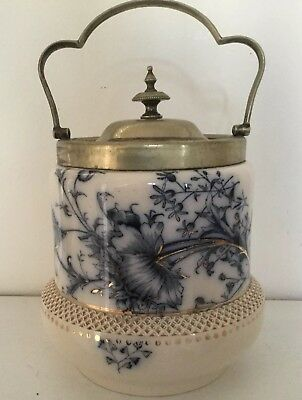 Antique W. & R .carlton Ware Flow Blue 'Poppy' Double Shaped Biscuit Barrel