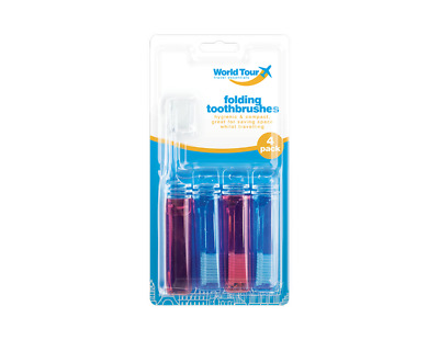 Travel Toothbrushes 4 Pack Fold Up Foldable Compact Toothbrush Holiday Red Blue