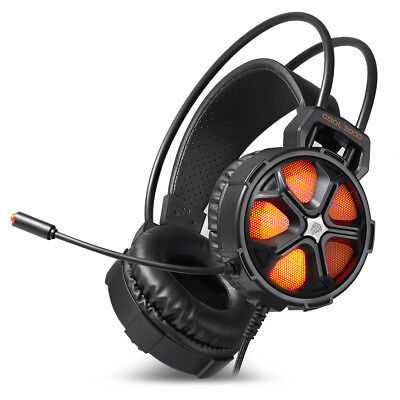 Orange Wired Over Ear Stereo Gaming Headphone For PUBG Fortnite With Mic LED