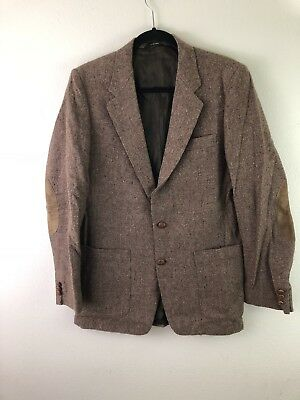 Vintage Raffinati Mens Sport Coat Blazer Tweed Elbow Patch Brown Size 42
