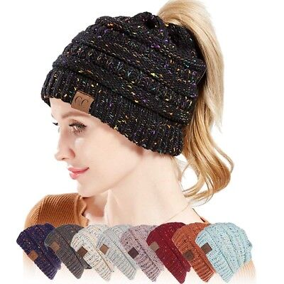 Ponytail Cap Soft Stretch Cable Knit Crochet Oversized Beanie Hat Womens Ladies