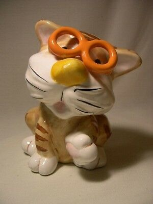Cat With Glasses  Ceramic Coin Bank