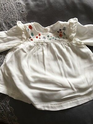 Pretty Long Sleeved Baby Blouse M&S 3-6 Mnths
