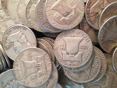 $3 Face Value Franklin Half Dollars 90% Silver (Lot Of 6 Coins)