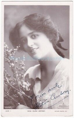Stage actress Hilda Antony. Signed postcard dated 1907