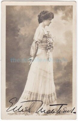 Stage actress Ethel Matthews. Signed postcard dated 1907