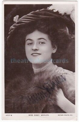Stage actress Emmy Wehlen. Signed postcard dated 1910