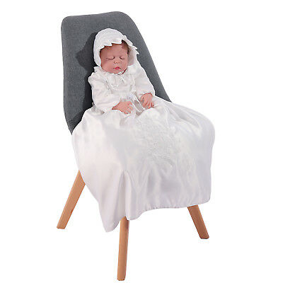 Long Sleeve Ivory Satin Christening Gown and Bonnet 0 3 6 9 12 Months
