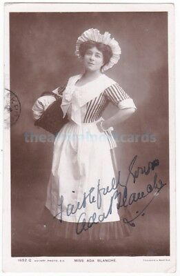 Stage actress Ada Blanche in costume. Signed postcard dated 1909