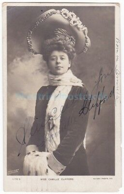 Stage actress Camille Clifford. Gibson Girl. Signed postcard dated 1905