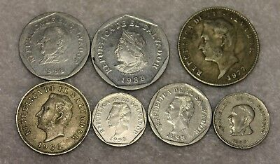 7 DIFFERENT coins from EL SALVADOR