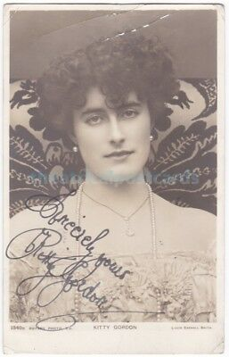 Stage actress Kitty Gordon. Signed postcard dated 1904