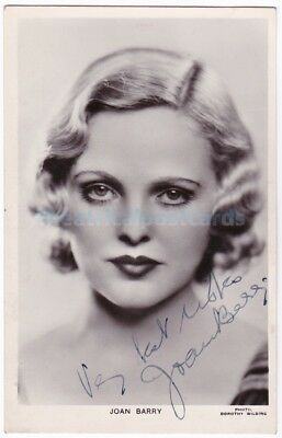 Stage and film actress Joan Barry. Signed Picturegoer postcard