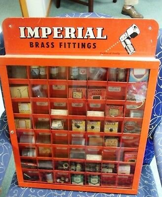 VINTAGE 1950s Imperial Brass Fittings Hardware Store Display Case w/ Brass Fitti