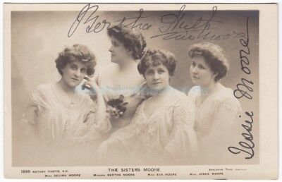 Stage actresses The Sisters Moore. Signed postcard