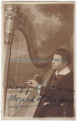 Variety harpist Roxy La Rocca. Wizard Of The Harp. Signed postcard