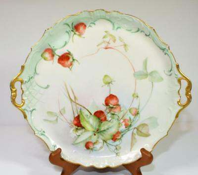 """Atq JEAN POUYAT LIMOGES China Signed Hand Painted STRAWBERRY 10 1/2""""d Cake Plate"""