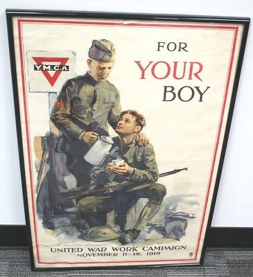 Wwi Ymca United War Work Campaign Poster Lithograph Nov 11-18, 1918 #3017