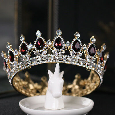 US Wedding Bridal Princess Rhinestone Prom Wedding Large Crown Elegant Headdress