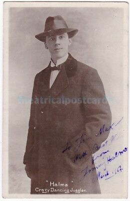 Music hall dancing juggler Jimmy Halma. Signed postcard dated 1919