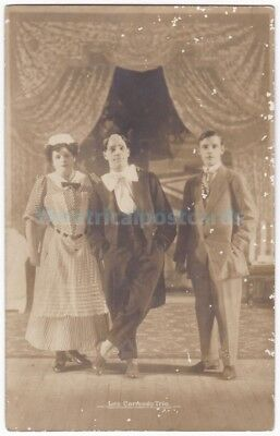 Music hall acrobat jugglers Les Carmody Trio. Signed postcard