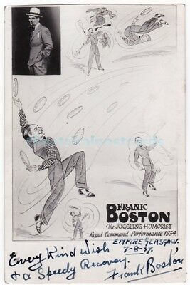 Variety juggler, humorist Frank Boston. Signed postcard Empire, Glasgow 1937