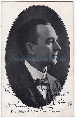 Music hall ventriloquist, impersonator Randolph King. Signed postcard