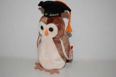 RARE Wise the Owl ODDITY Upside Down Hat Text! TY Beanie Baby AUTHENTIC!