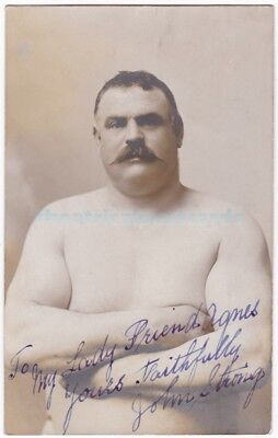 Vintage wrestler John Strong. Fought Hackenschmidt. Old Signed postcard