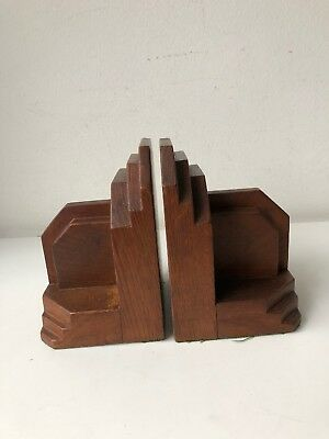 pair of vintage art deco wooden (oak?) bookends in good condition