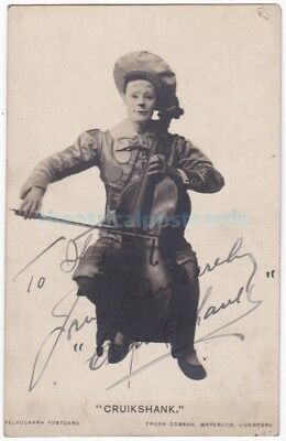 Music hall, pantomime entertainer, musical clown Cruikshank. Signed postcard