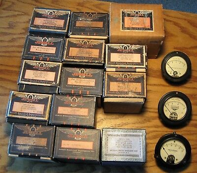 Lot of 17 Jewell, other amp volt meters, new old stock, most in boxes, bakelite