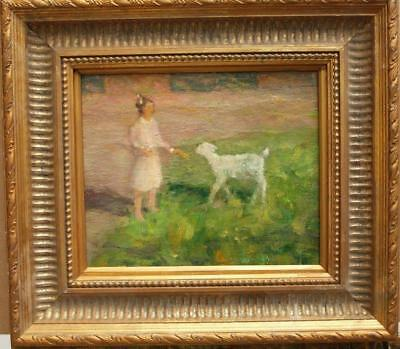 19th Century FRENCH IMPRESSIONIST Girl Feeding Lamb Antique Oil Painting