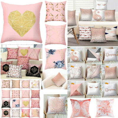 """18"""" Rose Gold Pillow Case Polyester Geometric Cushions Cover Bed Sofa Home Decor"""